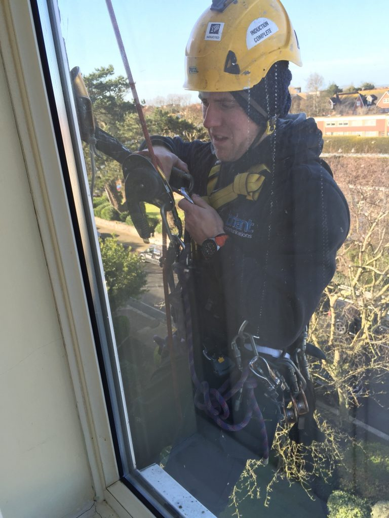 Abseiler Installing Cabling
