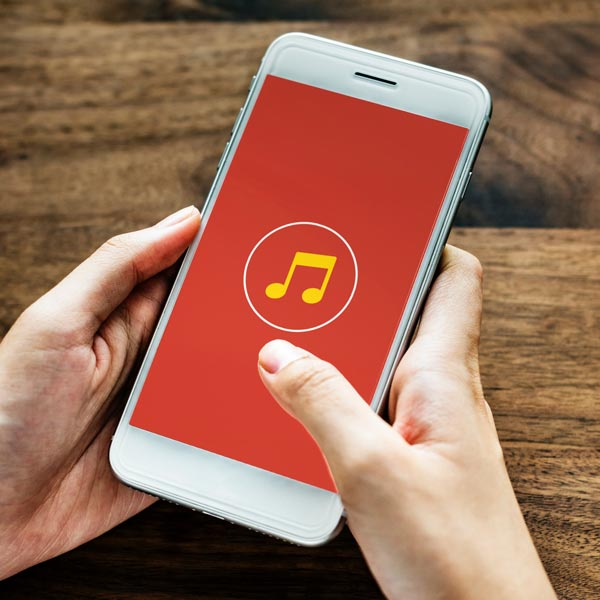 Mobile phone using a music application