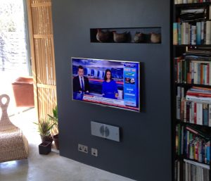 flat screen TV, television, installation, wall, wall hanging