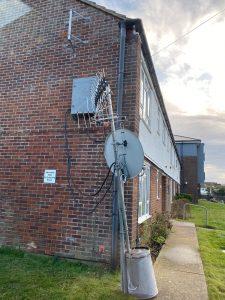 storm, storm damage, fallen, blown, dangerous, aerial, satellite, tv dish, repair, remove, replace